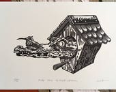Croc // Original linocut print // Free shipping