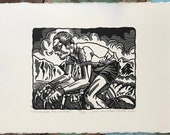 Pédaleur de Charme // Original linocut print