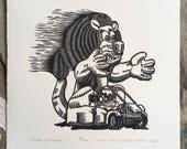 Vive le Tour! // Original linocut print // Free shipping