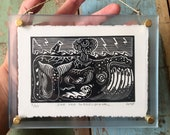 Watch Out Little Ship! // Framed mini linocut print