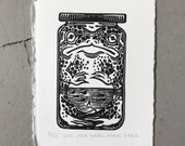Frog Sauce // Mini linocut print