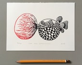 LAST PRINT LEFT! // Bubblegum Blowfish // Original linocut print