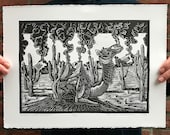 Distant Lands of Sand // Original linocut print