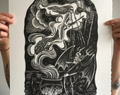 Fire Burn and Cauldron Bubble // Original linocut print