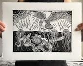 A Dark Divide // Original linocut print