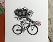 LAST PRINT LEFT! // A Workday's End // Original linocut print