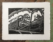 The Aviator // Original linocut print