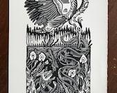 As Above, So Below // Original linocut print