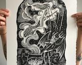Fire Burn and Cauldron Bubble // Original linocut print