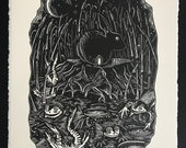 The Hare and the Frogs // Original linocut print