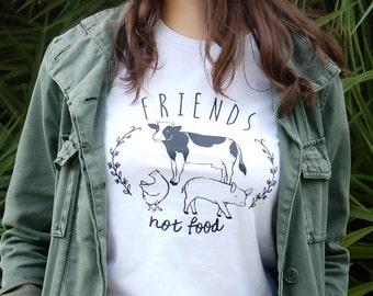 Friends Not Food, vegan tshirt, vegetarian tshirt, vegan shirt, vegetarian shirt, animal rights, tee, animal lover