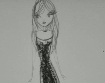 Fashion sketch 15x18cm