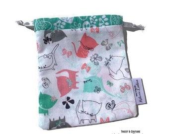 HAND pocket - Mask pocket - cats (hearts) - reusable bag, zero waste