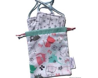 HANDy POCKET - Mask pocket - cats (turquoise) - reusable bag, zero waste