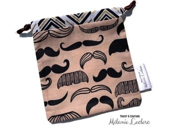 HAND pocket - Mask pocket - whiskers (white) - reusable bag, zero waste