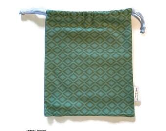Gift bag, eco-friendly gift wrapper, reusable bag - Green, diamonds - reusable packaging, zero waste