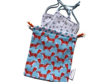 HAND pocket - Mask pocket - foxes - reusable bag, zero waste