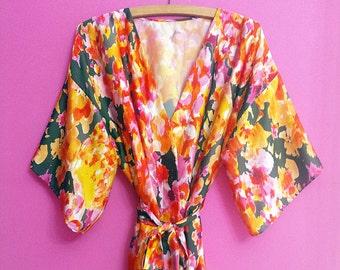 Kimono robe black white flowers polka dots belt and headband  bcc3dccef