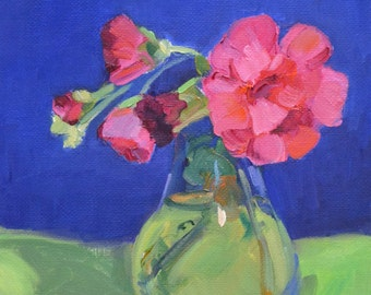 still life oil painting, flowers, impressionism, small art, floral painting