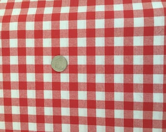 Cotton and Steel Checkers 1/2 Inch Gingham Red and White Cotton Fabric .5 Yd