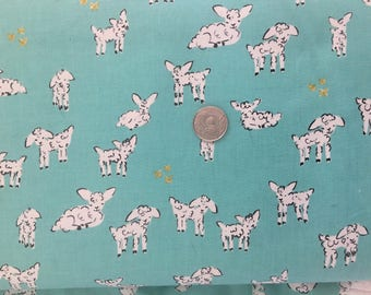 Clover Little Lambs Cotton + Steel Fabric Turquoise OOP Alexia Abegg .5 Yd