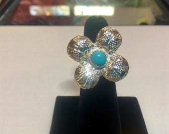 Sterling Silver Sleeping Beauty Turquoise Flower Ring- size 5
