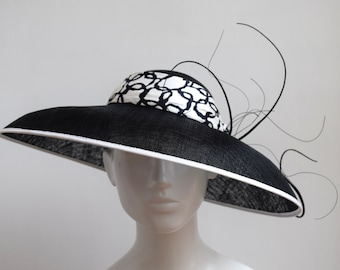 bebee04a6af3d Black and White Audrey Hepburn Inspired Hat - Black and White Hat - Large  Wide Brim Hat - Black and White Wedding Hat - Royal Ascot Hat