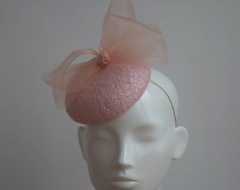 Pastel Pink Cocktail Hat - Blush Pink Pillbox - Pink Sequin Hat - Pale Pink  Fascinator - Light Pink Fascinator - Pale Pink Wedding Hat 5e64d337358