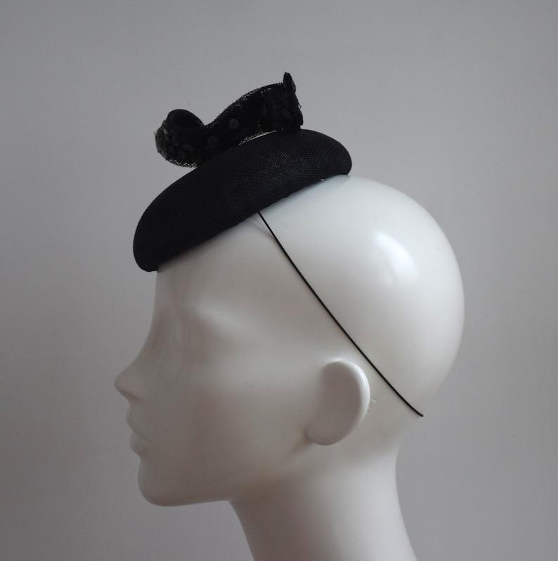 Black Wedding Hat Black Modern Fascinator Simple Modern Cocktail Hat Black Fascinator-  Black Racing Style Hat Black Pillbox Hat