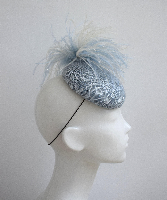 0a80531d5d Light Blue Pillbox Hat Pale Blue Wedding Fascinator Pastel