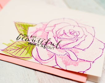 Big Rose - You are beautiful inside and out - Encouragement Cards