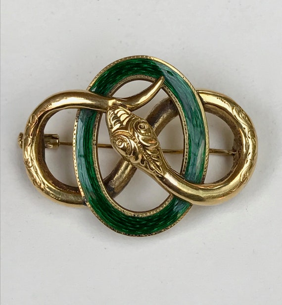 Antique Victorian snake brooch  gold 18K enamel