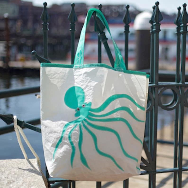 large - Recycled Sail Bag Beach Getaway Teal Octopus