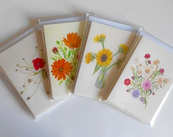 Set of 4 flower greetings cards