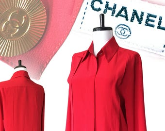 Vintage CHANEL Silk Pleated Blouse — S/M