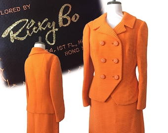 "1960s Double-Breasted Skirt Suit — 27"" Waist"