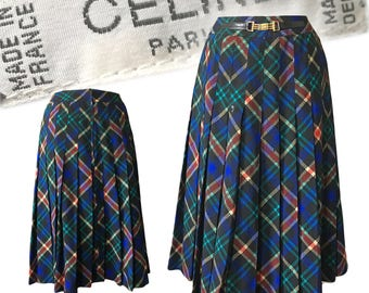 "Vintage CELINE Plaid Pleated Skirt With Logo Belt Detail — 28"" W"