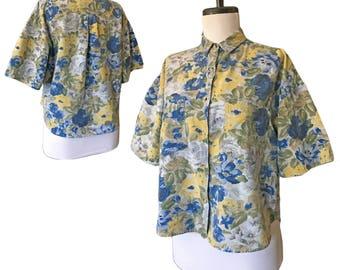 Vintage Cropped Floral Shirt — S/M