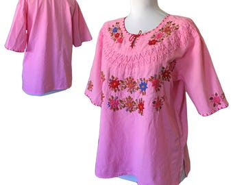 Vintage Embroidered Mexican Peasant Top — S/M