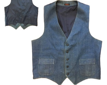 1970s Men's Tailored Denim Vest