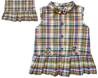 Vintage 1960s Plaid Cotton Dress For Newborn or Doll