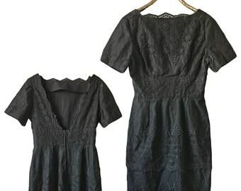 "1960s Embroidered Black Sheath Dress — 31"" W"