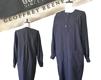 Vintage GEOFFREY BEENE Houndstooth Shift Dress — Med