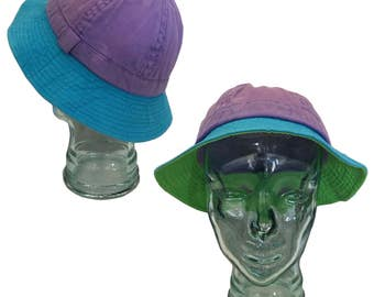 a07d23e0dd1 Vintage Pastel Color-Blocked Cotton Bucket Hat