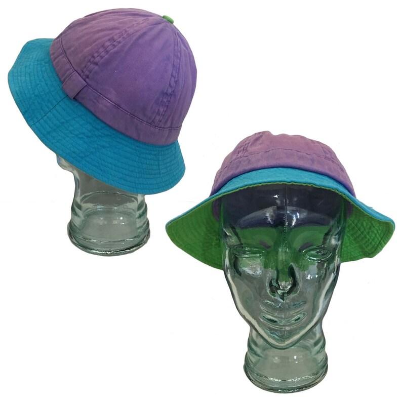 112717e4af5 Vintage Pastel Color-Blocked Cotton Bucket Hat