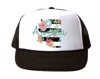 3efae0a9879 Floral Arizona Outline with Cursive Hat
