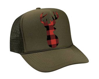 Buffalo Plaid Deer Trucker Hat 75a893eb51f2