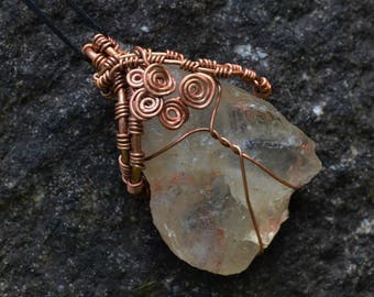 Wire Wrapped Pendant Necklace Raw Quartz Crystal and Antiqued Copper