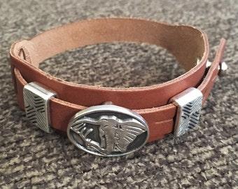 Boho Bracelet, Adjustable Button Snap Tan Leather Wrap Bracelet with Elephant Slider Charm, Boho Jewelry, Elephant Charm Bracelet, 50007