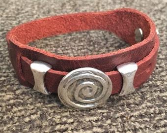Boho Bracelet, Adjustable Button Snap Dark Red Leather Wrap Bracelet with Hammered Silver Spiral Charm, Boho Jewelry, Southwestern, 50003